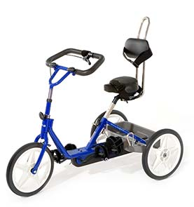 Bright blue tricycle with black padding and handlebar
