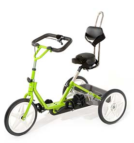 Electric Lime tricycle with black padding and handlebar