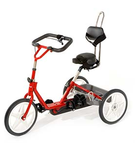 Fire Engine Red tricycle with black padding and handlebar